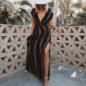 Black and brown stripe maxi dress